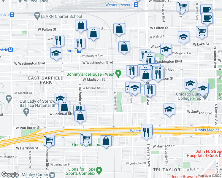 map of restaurants, bars, coffee shops, grocery stores, and more near 2629 West Monroe Street in Chicago