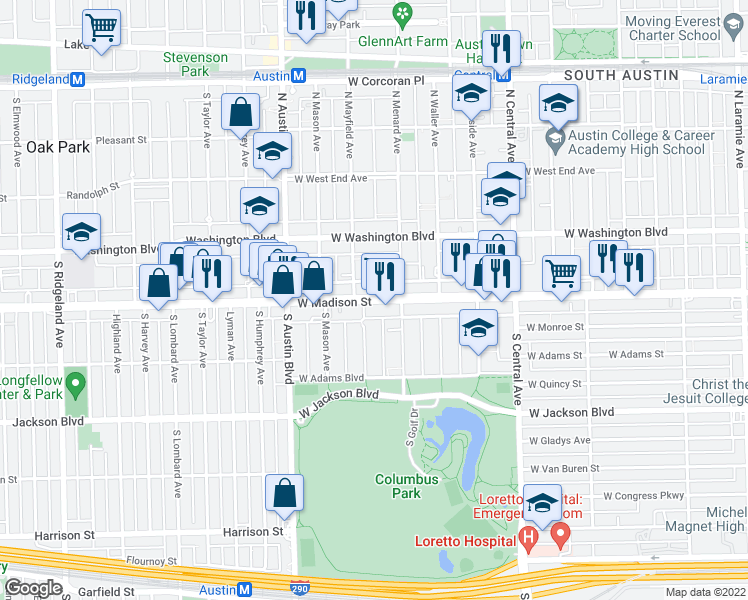 map of restaurants, bars, coffee shops, grocery stores, and more near 5831 West Madison Street in Chicago