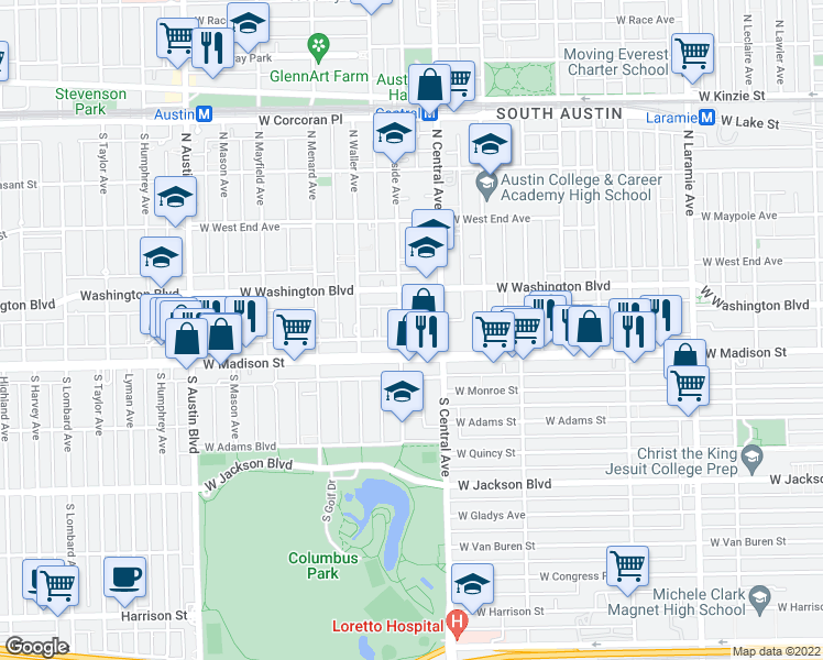 map of restaurants, bars, coffee shops, grocery stores, and more near 25 North Parkside Avenue in Chicago