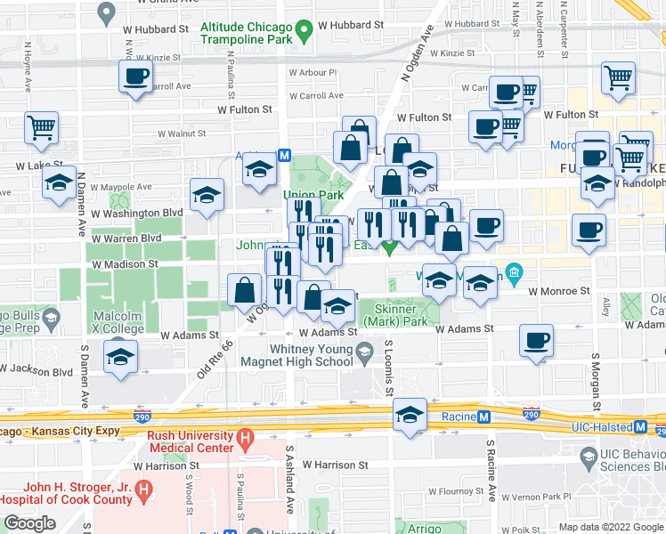 map of restaurants, bars, coffee shops, grocery stores, and more near 6 South Laflin Street in Chicago