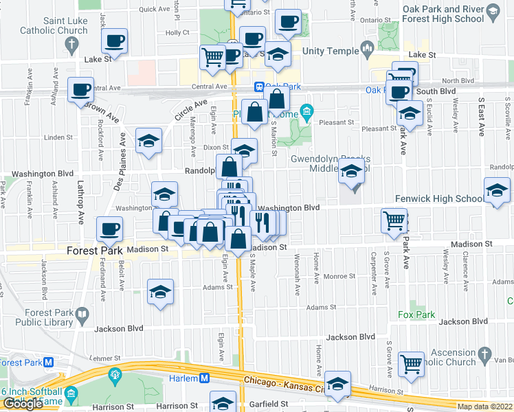 map of restaurants, bars, coffee shops, grocery stores, and more near 1122 Washington Boulevard in Oak Park