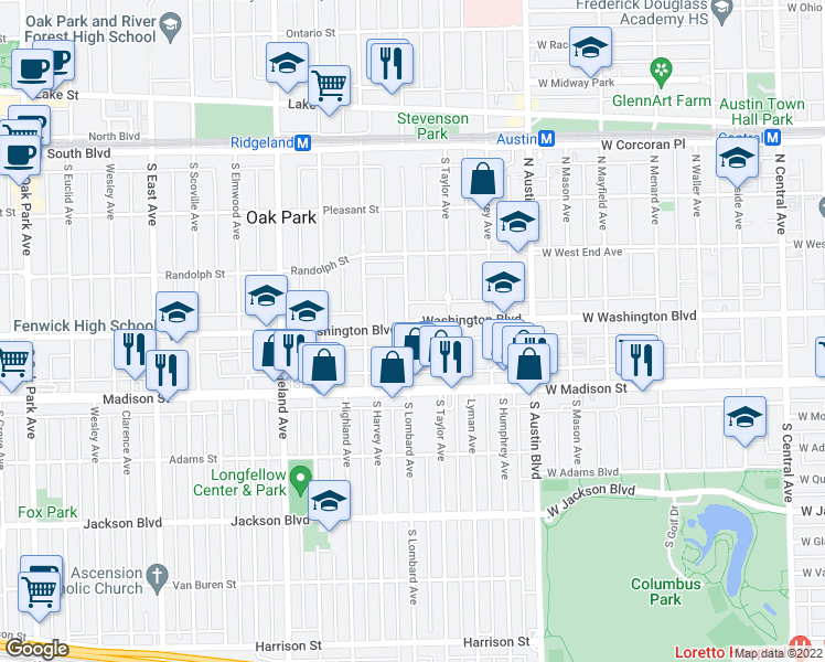 map of restaurants, bars, coffee shops, grocery stores, and more near 404 South Lombard Avenue in Oak Park
