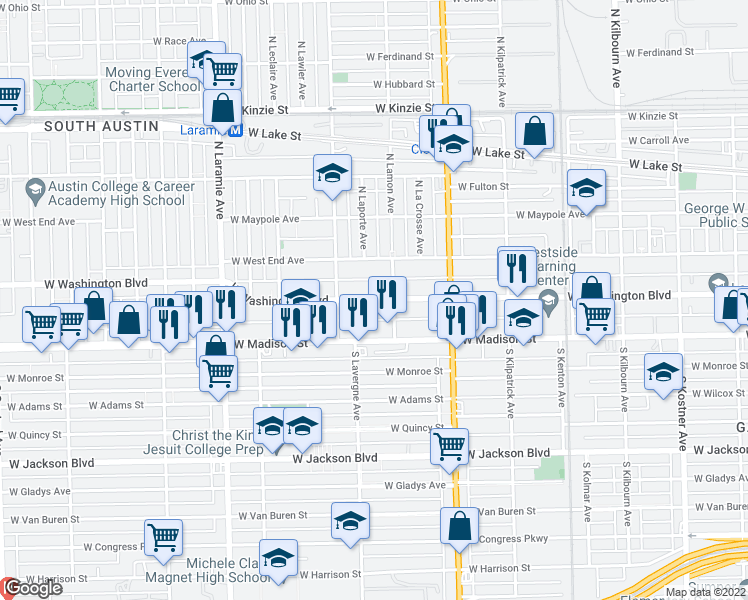 map of restaurants, bars, coffee shops, grocery stores, and more near 4917 West Washington Boulevard in Chicago