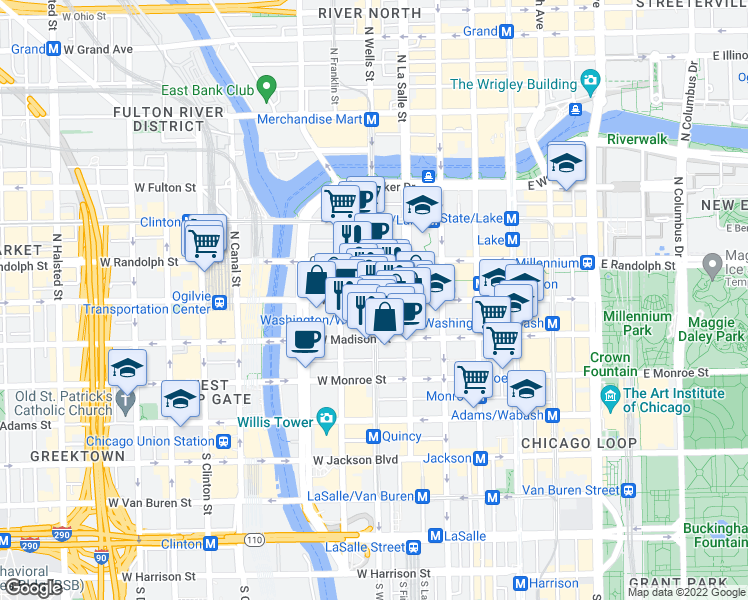 map of restaurants, bars, coffee shops, grocery stores, and more near West Washington Street & North Wells Street in Chicago