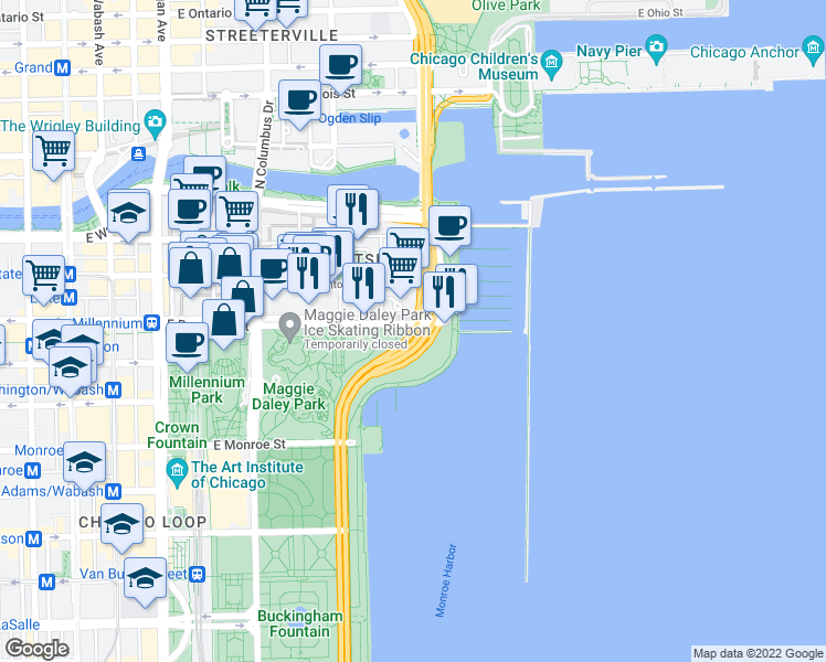 map of restaurants, bars, coffee shops, grocery stores, and more near N Lake Shore Dr in Chicago