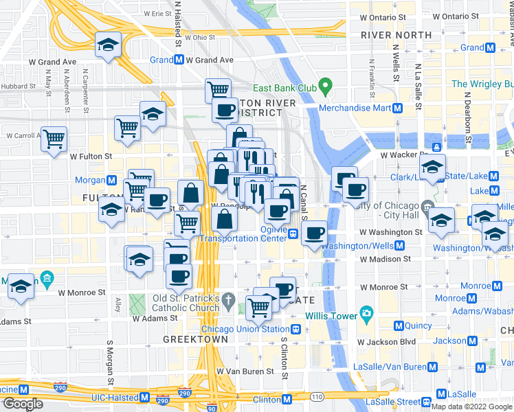 map of restaurants, bars, coffee shops, grocery stores, and more near West Randolph Street & North Jefferson Street in Chicago