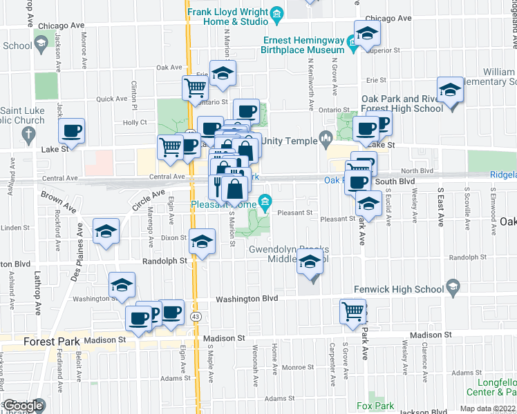 map of restaurants, bars, coffee shops, grocery stores, and more near 1018 Pleasant St in Oak Park