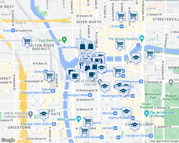 map of restaurants, bars, coffee shops, grocery stores, and more near West Lake Street & North Wells Street in Chicago