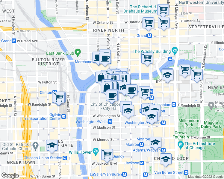 map of restaurants, bars, coffee shops, grocery stores, and more near 182 West Lake Street in Chicago