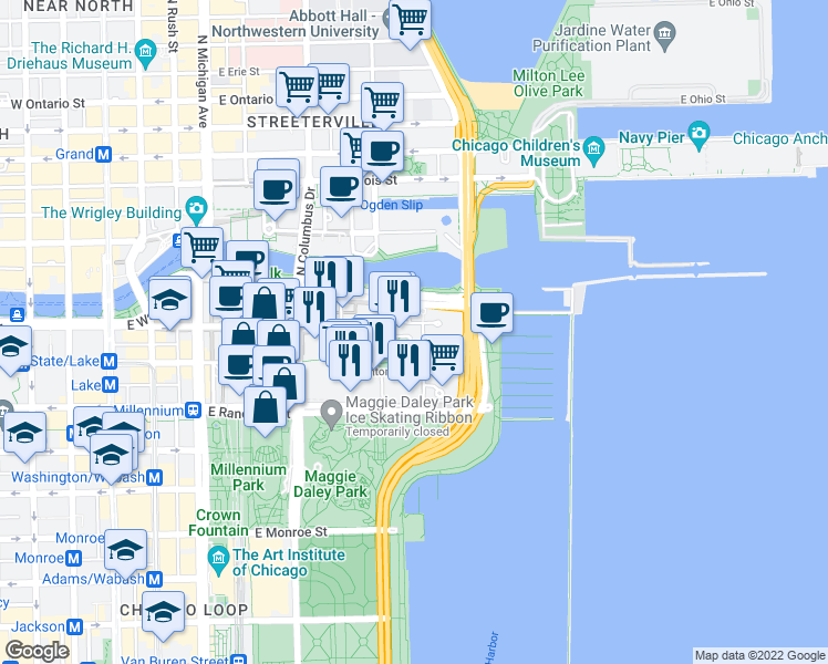 map of restaurants, bars, coffee shops, grocery stores, and more near 201 North Westshore Drive in Chicago
