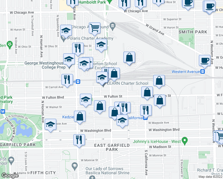 map of restaurants, bars, coffee shops, grocery stores, and more near 323 North Sacramento Boulevard in Chicago