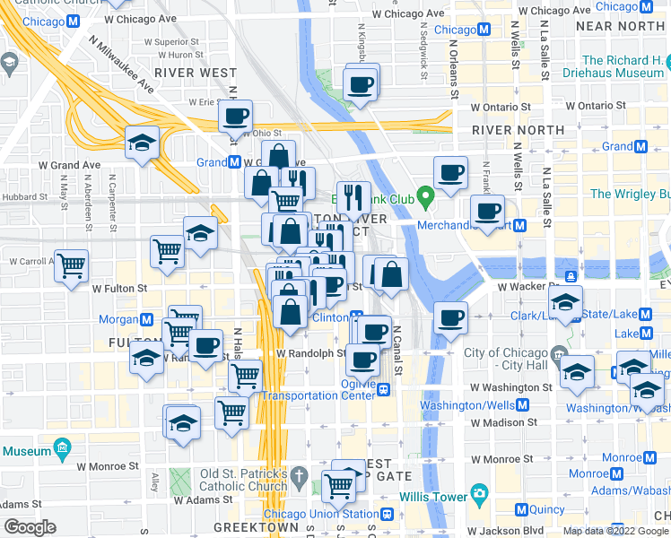 map of restaurants, bars, coffee shops, grocery stores, and more near North Jefferson Street & West Wayman Street in Chicago