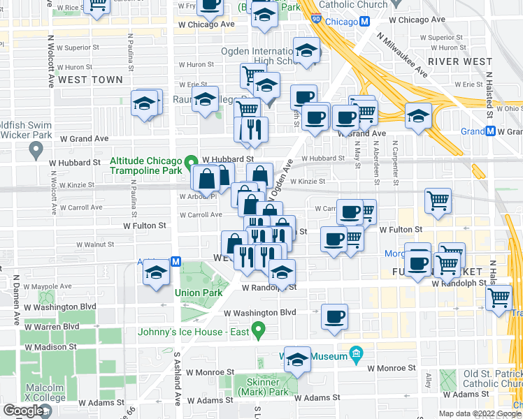 map of restaurants, bars, coffee shops, grocery stores, and more near 340 North Ogden Avenue in Chicago