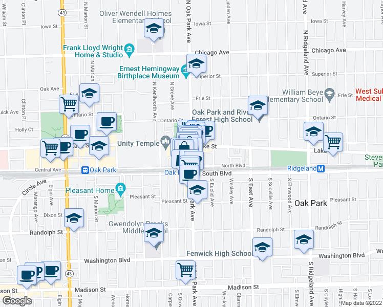 map of restaurants, bars, coffee shops, grocery stores, and more near 810 North Boulevard in Oak Park