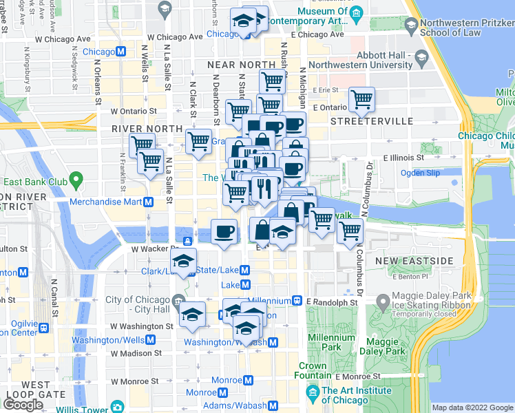 map of restaurants, bars, coffee shops, grocery stores, and more near Lower Wabash Ave in Chicago