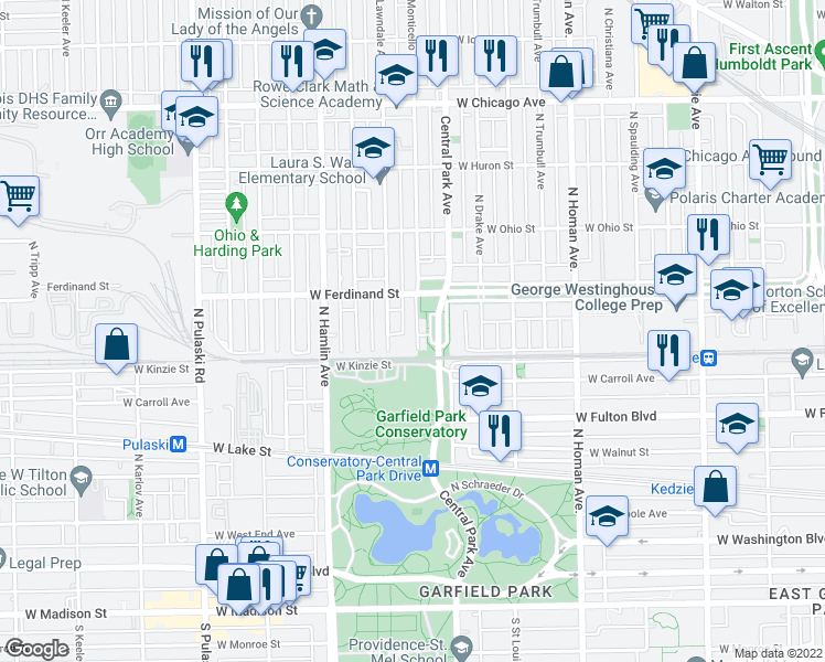 map of restaurants, bars, coffee shops, grocery stores, and more near 440 North Monticello Avenue in Chicago