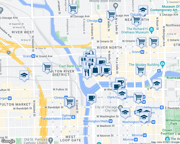 map of restaurants, bars, coffee shops, grocery stores, and more near West Kinzie Street in Chicago