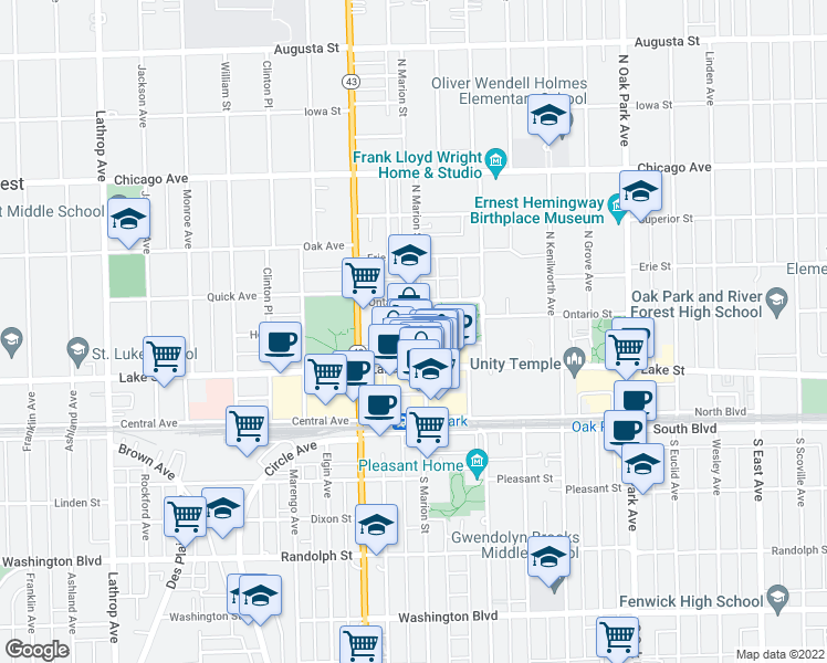 map of restaurants, bars, coffee shops, grocery stores, and more near 1107 Holley Court in Oak Park