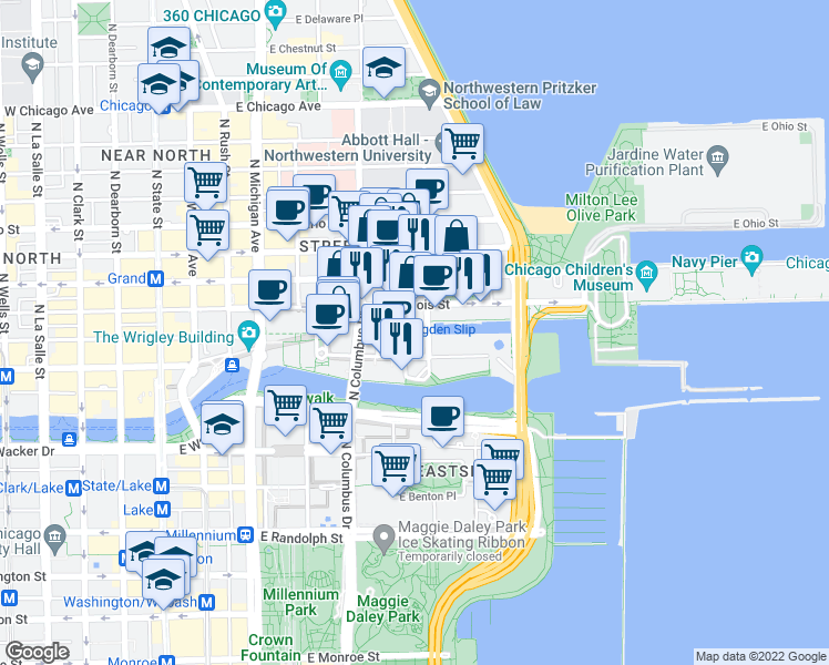 map of restaurants, bars, coffee shops, grocery stores, and more near 440 North McClurg Court in Chicago
