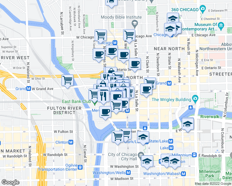 map of restaurants, bars, coffee shops, grocery stores, and more near West Illinois Street & North Franklin Street in Chicago