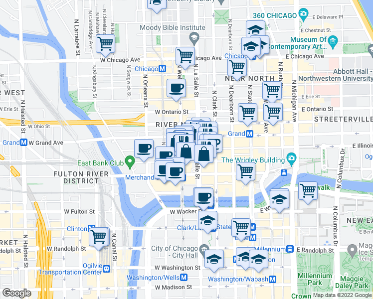 map of restaurants, bars, coffee shops, grocery stores, and more near West Illinois Street in Chicago
