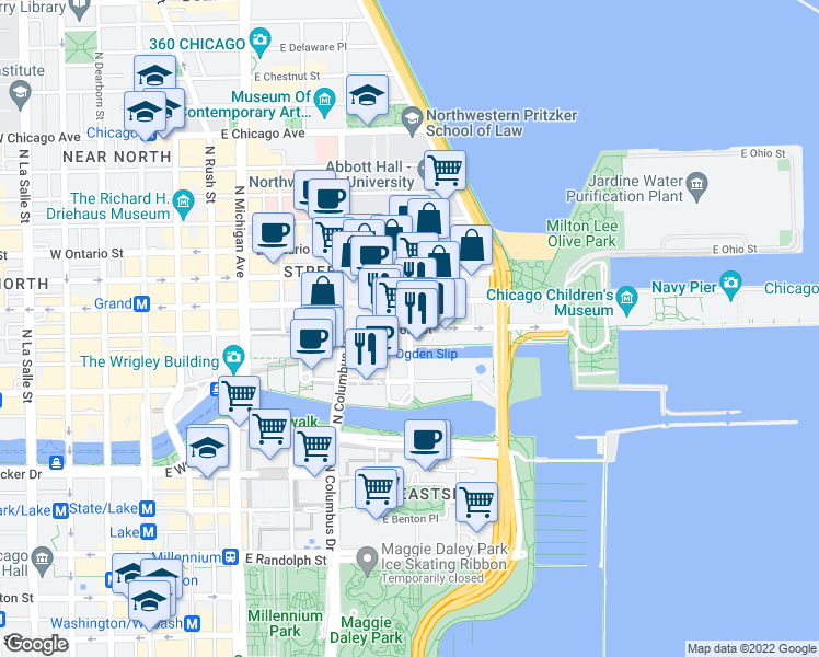 map of restaurants, bars, coffee shops, grocery stores, and more near East Illinois Street & North McClurg Court in Chicago