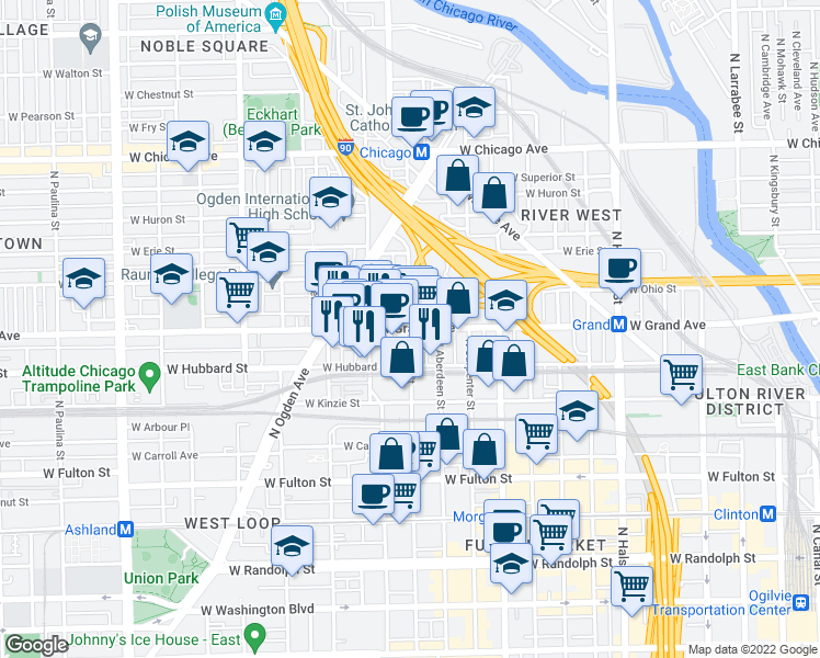 map of restaurants, bars, coffee shops, grocery stores, and more near West Grand Avenue & North May Street in Chicago
