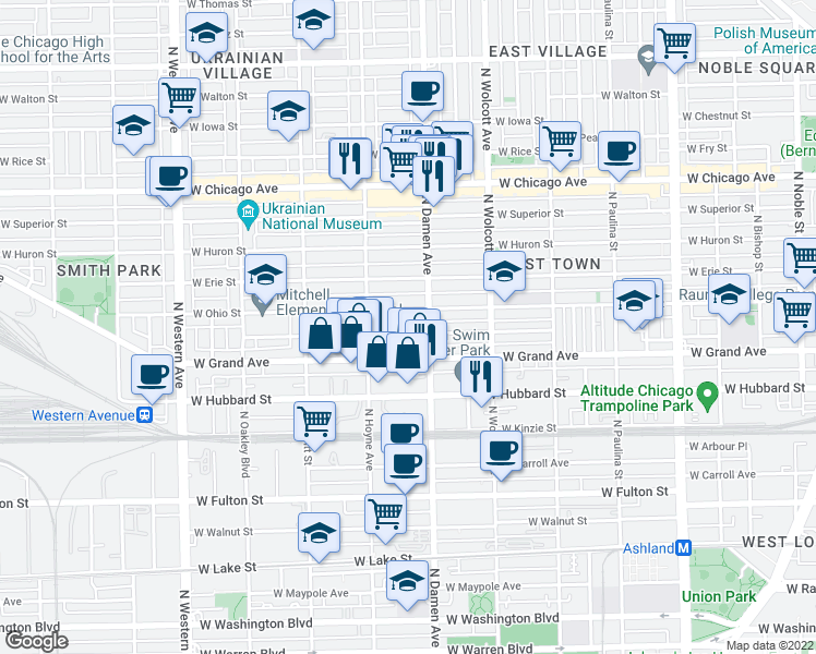 map of restaurants, bars, coffee shops, grocery stores, and more near 2020 West Race Avenue in Chicago