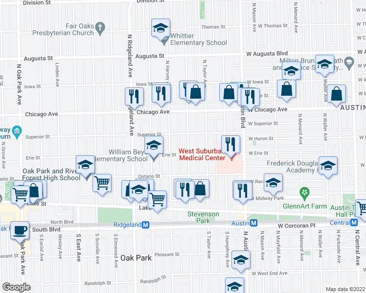 map of restaurants, bars, coffee shops, grocery stores, and more near 311 South Lombard Avenue in Oak Park