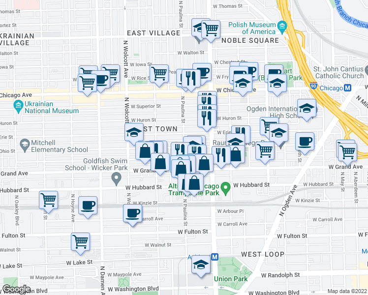 map of restaurants, bars, coffee shops, grocery stores, and more near North Paulina Street & West Ohio Street in Chicago
