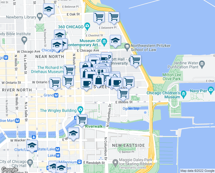 map of restaurants, bars, coffee shops, grocery stores, and more near 600 North Fairbanks Court in Chicago