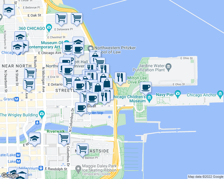 map of restaurants, bars, coffee shops, grocery stores, and more near East Ohio Street in Chicago