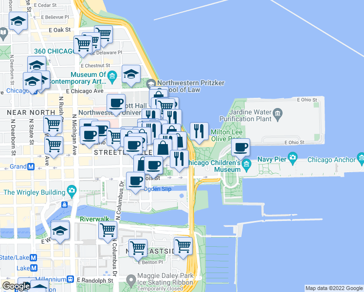 map of restaurants, bars, coffee shops, grocery stores, and more near 474 North Lake Shore Drive in Chicago