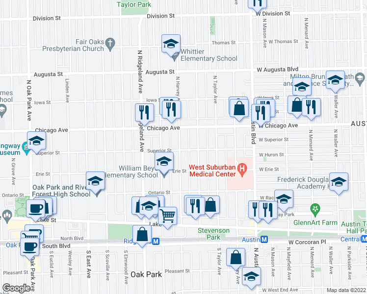 map of restaurants, bars, coffee shops, grocery stores, and more near 406-410 North Harvey Avenue in Oak Park