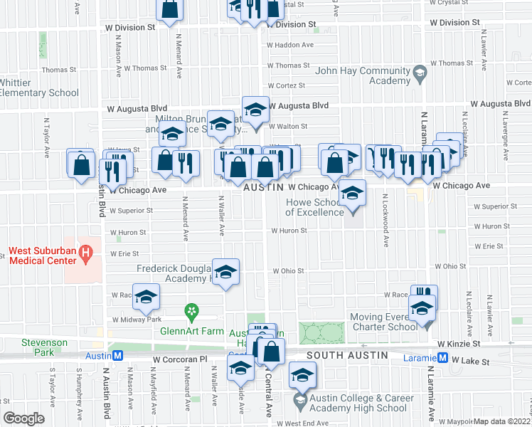 map of restaurants, bars, coffee shops, grocery stores, and more near 719 North Central Avenue in Chicago
