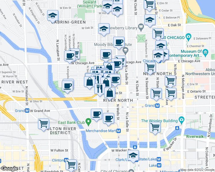 map of restaurants, bars, coffee shops, grocery stores, and more near West Erie Street & North Franklin Street in Chicago