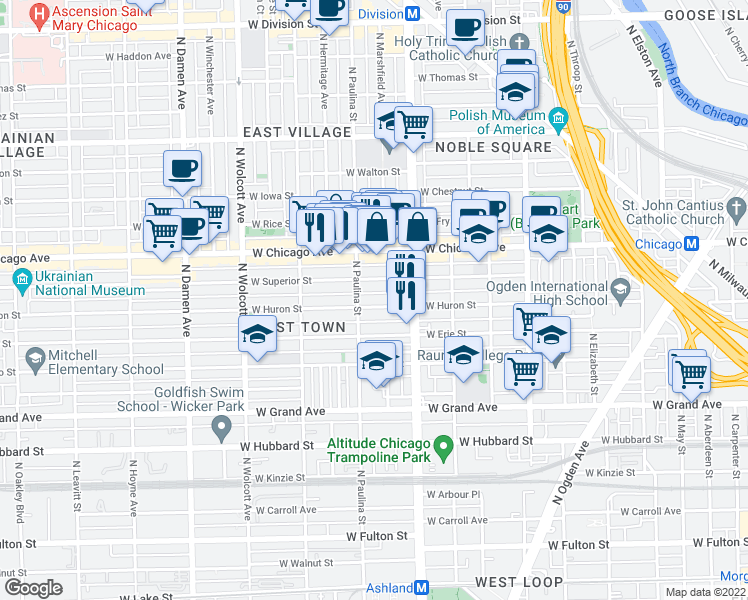 map of restaurants, bars, coffee shops, grocery stores, and more near 1644 W Huron St in Chicago