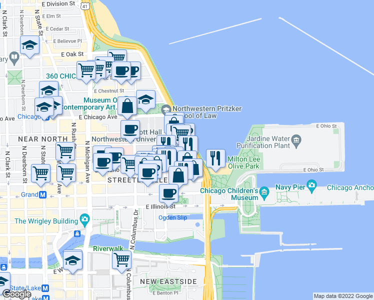 map of restaurants, bars, coffee shops, grocery stores, and more near 680 North Lake Shore Drive in Chicago