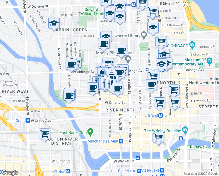 map of restaurants, bars, coffee shops, grocery stores