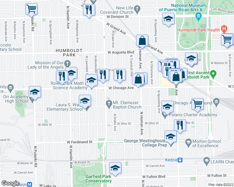 map of restaurants, bars, coffee shops, grocery stores, and more near 741 N Drake Ave in Chicago