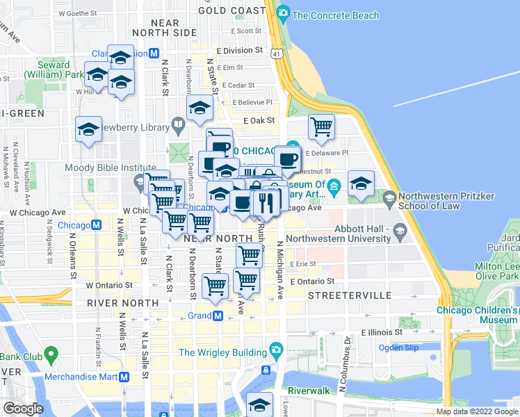 map of restaurants, bars, coffee shops, grocery stores, and more near East Chicago Avenue & North Rush Street in Chicago