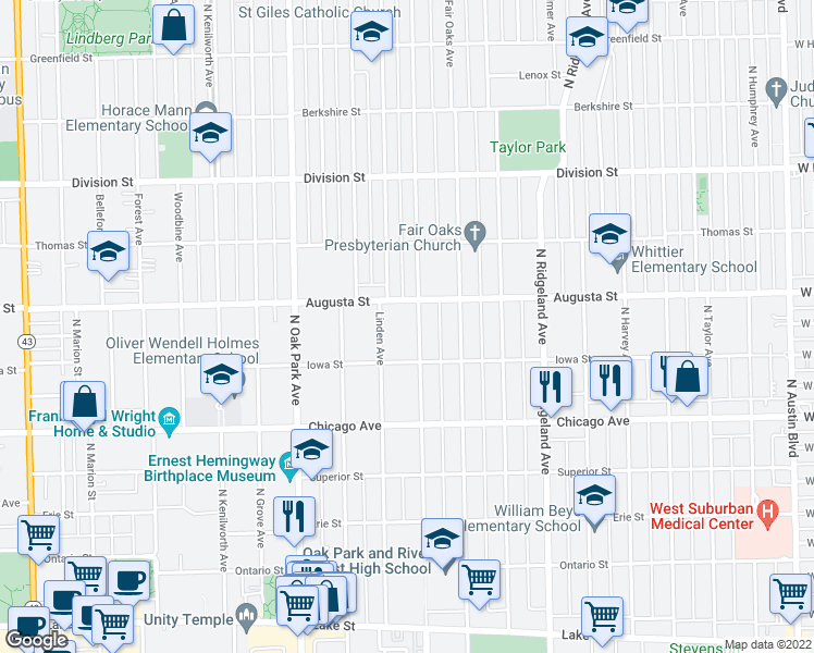 map of restaurants, bars, coffee shops, grocery stores, and more near 633 North East Avenue in Oak Park