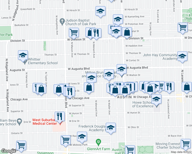 map of restaurants, bars, coffee shops, grocery stores, and more near 929 North Menard Avenue in Chicago