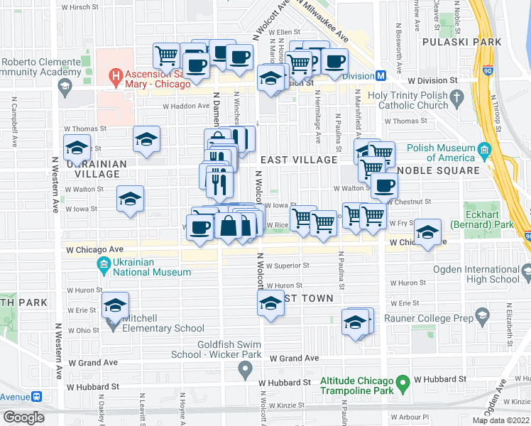map of restaurants, bars, coffee shops, grocery stores, and more near 851 North Wolcott Avenue in Chicago