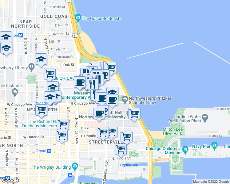 map of restaurants, bars, coffee shops, grocery stores, and more near 250 East Pearson Street in Chicago