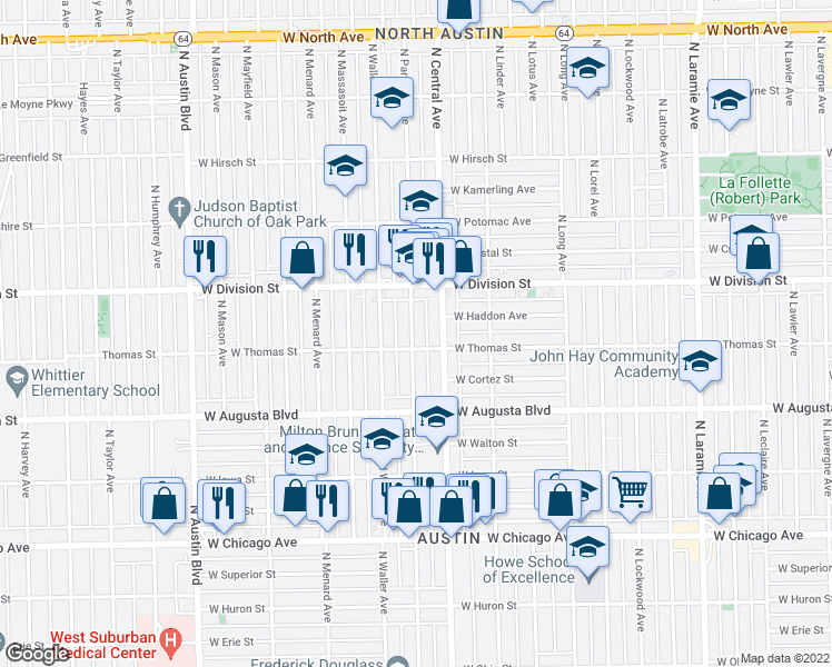 map of restaurants, bars, coffee shops, grocery stores, and more near 1119 North Parkside Avenue in Chi