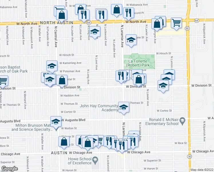 map of restaurants, bars, coffee shops, grocery stores, and more near 5242 West Division Street in Chicago