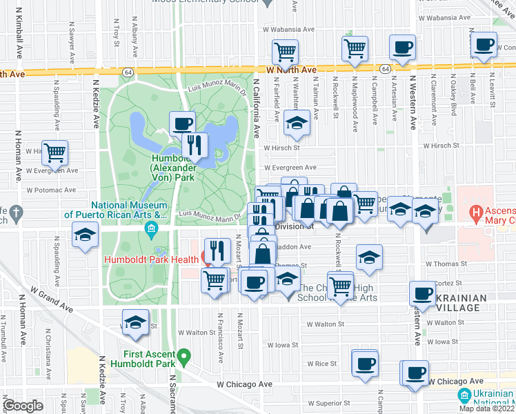 map of restaurants, bars, coffee shops, grocery stores, and more near North California Avenue & West Crystal Street in Chicago