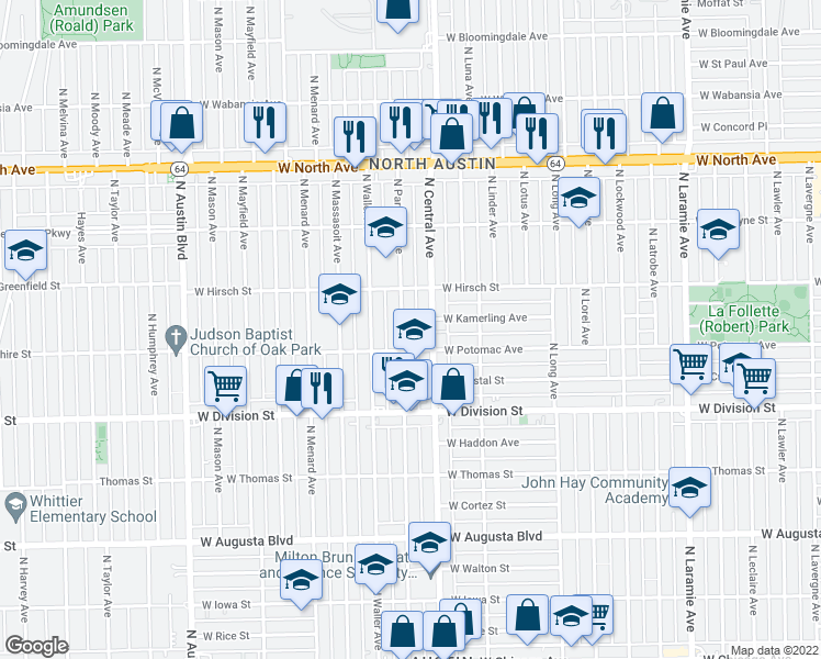 map of restaurants, bars, coffee shops, grocery stores, and more near 1319 N Parkside Ave in Chicago