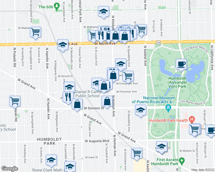 map of restaurants, bars, coffee shops, grocery stores, and more near 3419 West Evergreen Avenue in Chicago